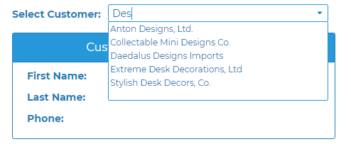 search combo box choices in profound ui